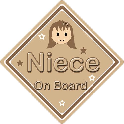 Non personnalisé enfant//bébé à bord voiture signe ~ nièce à bord ~ brown