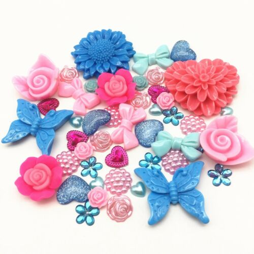 50 Embellishments Pink Blue mix Cabochon Beads Flatbacks Gems Craft Cardmaking