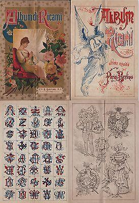 RICAMI-ALBUM DI RICAMI-GRANDE FORMATO-cm.47 X 33-OLTRE 200 IMMAGINI-1890 c-L1788
