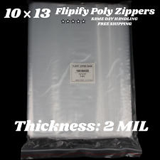 10x13 Clear 2 Mil Zipper Bags Poly Plastic Reclosable Seal Food Storage Baggie