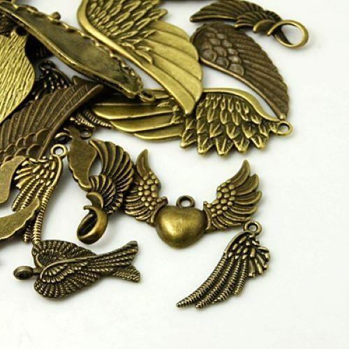 10pcs Antique bronze wing feather charms random mix vintage steampunk steampunk