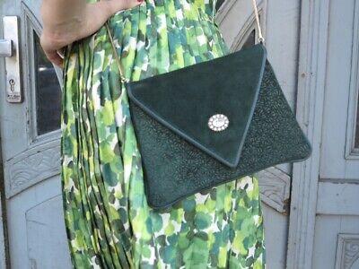 Intelligente Design Diavolo Borsetta Camoscio Verde 80er Truevintage Women's Handbag Purse-mostra Il Titolo Originale
