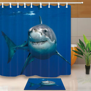 Charmant Image Is Loading Jaws Shark Under The Sea Shower Curtain Bathroom