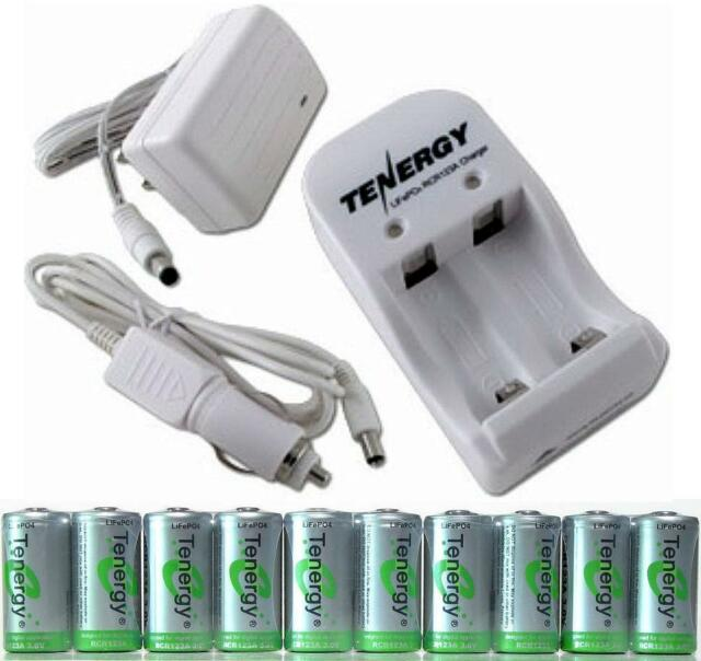 New 10 RECHARGEABLE TENERGY RCR123A 3.2v LFP Batteries + SMART AC/DC Charger