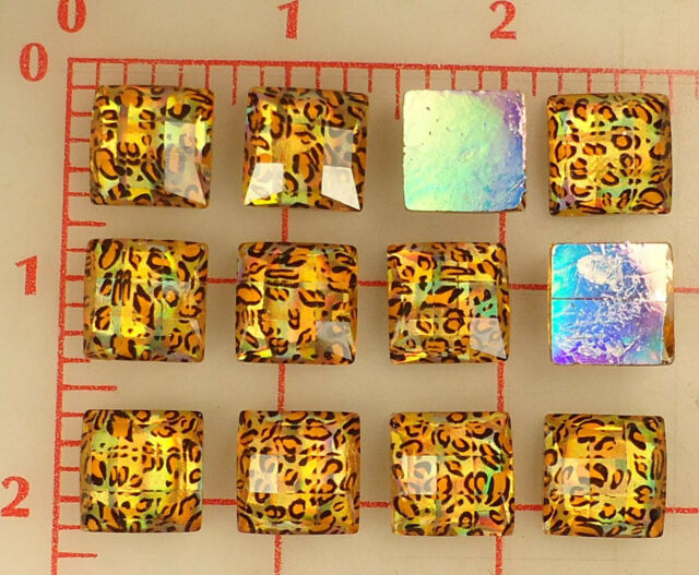 12 Vintage plastic faceted foil-back squares with leopard print gold large 14mm