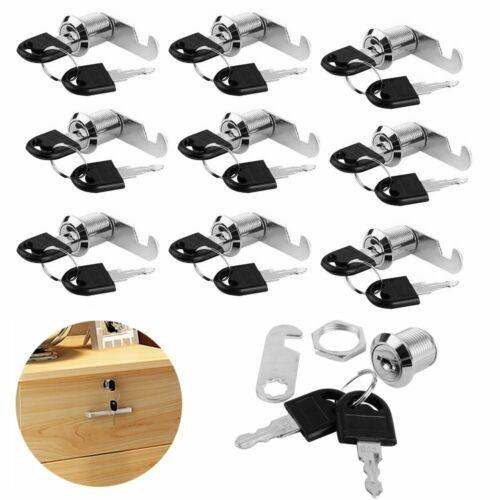 10x Schrankschloß Möbelschloß Briefkastenschloß 16//20//25//30mm mit 2 Schlüssel