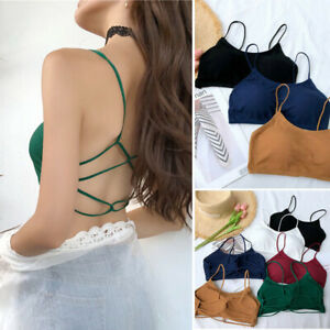 Strappy-Ribbed-Stretchy-Fitted-Built-in-Bra-Criss-Cross-Tube-Tank-Top-Cami-Crop