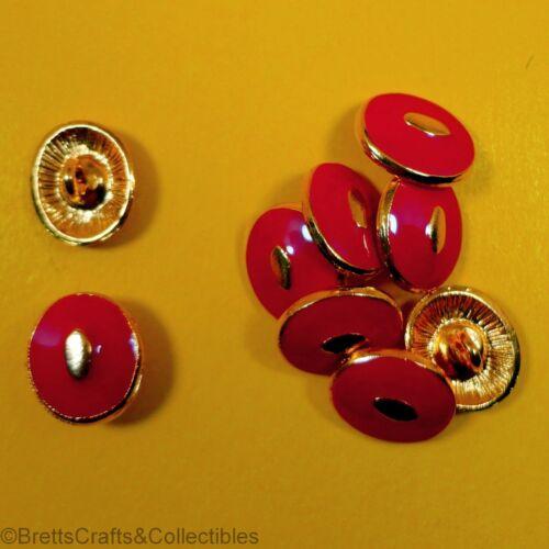 Cast Metal /& Red Enamel Buttons 9 per bag 15mm x 13mm Shank Buttons