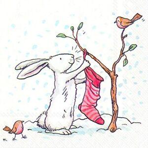 Charming-Snow-Rabbits-Christmas-cocktail-tea-napkins-20-pack-25cm-square-3-ply