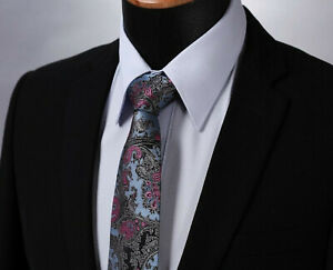 Grey-Premium-Blue-Tie-Black-amp-Pink-Floral-Paisley-Silk