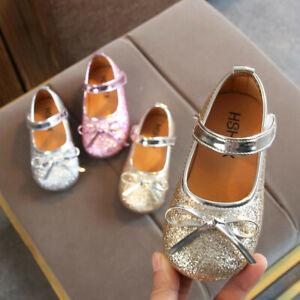 Toddler-Children-Kids-Girls-Bling-Sequins-Single-Princess-Party-Shoes-Sandals