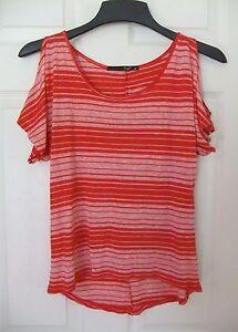 Love-J-USA-Juniors-Sz-M-Cold-Shoulder-Dark-Coral-Striped-Shirt-Top