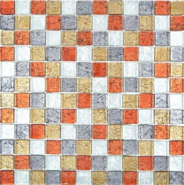 Glasmosaik Gold silber schwarz rot Struktur Wand Küche Sauna  88-71739  10Matten