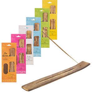 20-Wooden-Incense-Sticks-amp-Holder-Set-Burner-Ash-Catcher-Fragrance-Scents-Gift