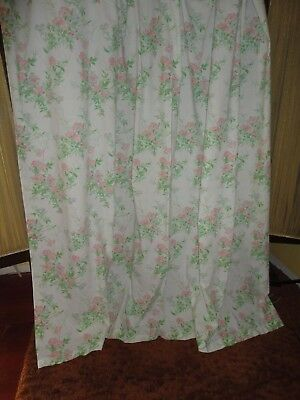 VINTAGE SPRINGMAID PINK GREEN WHITE BLUE FLORAL SHOWER CURTAIN 80 X 69