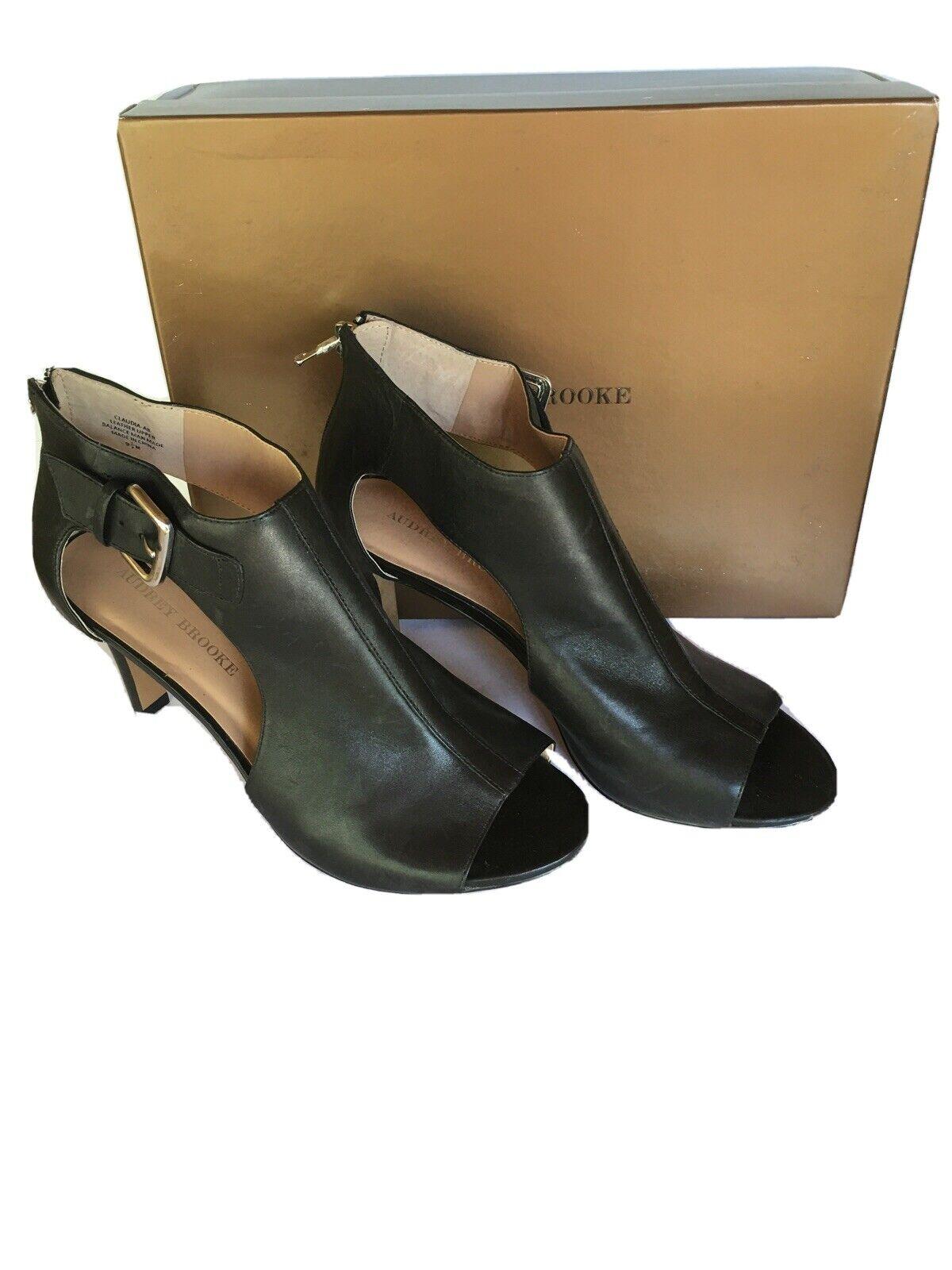 New Womens Audrey Brooke Zipper Back Black High Heels Shoes Size 9.5