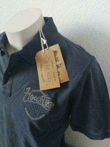 REDFIELD Polo Poloshirt Knopfleiste Gr L 52 Blau Marine  Stickerei Washer