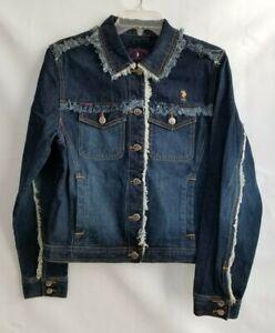 U-S-Polo-Assn-Vintage-Jean-Jacket-Blue-Denim-Frayed-Silver-Buttons-Pockets-Sz-L