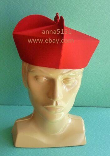 Red 3 Horns Biretta