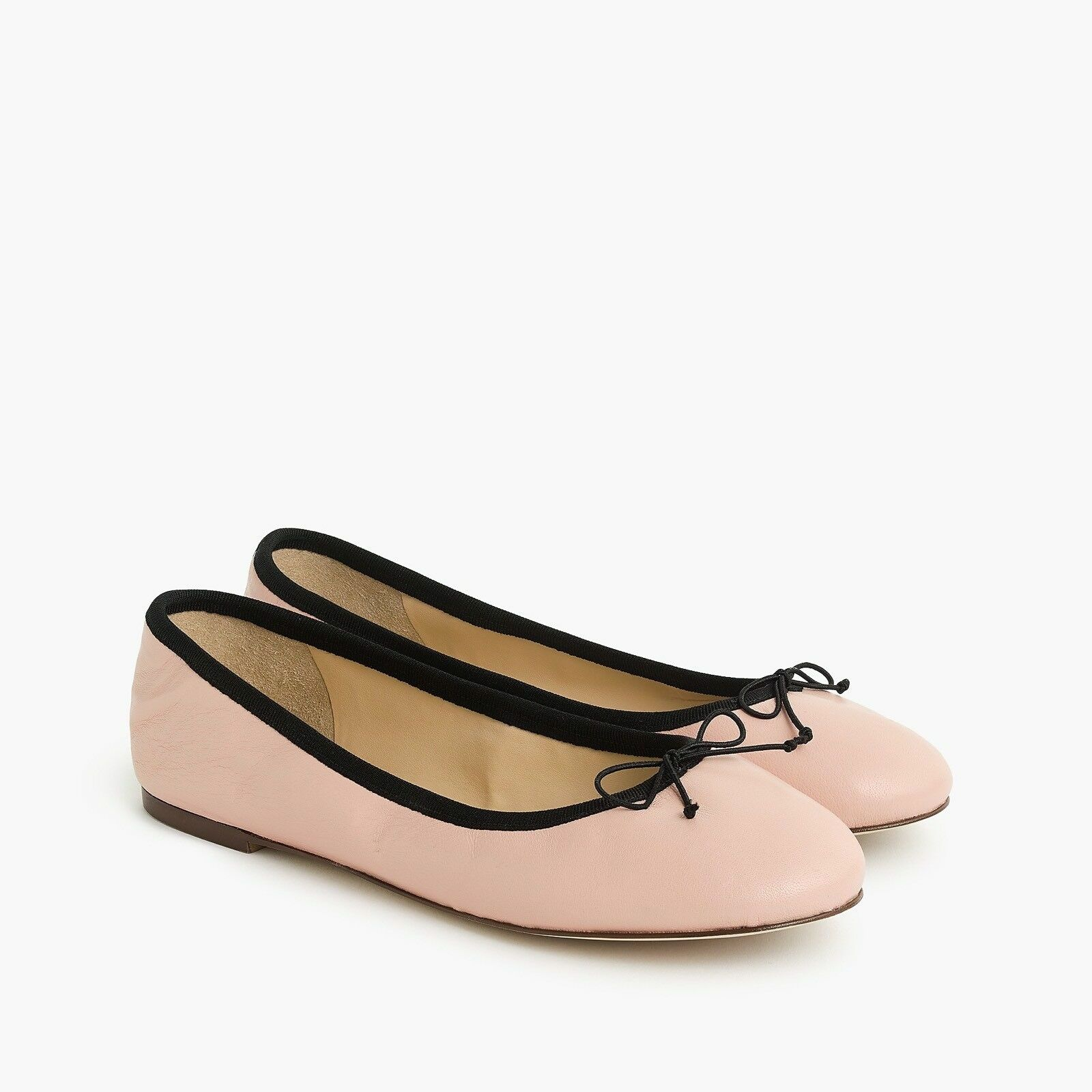 98 NEW J.Crew Evie Classic Leather Bow Ballet Flats Iced Peach   bluesh Sz 9.5