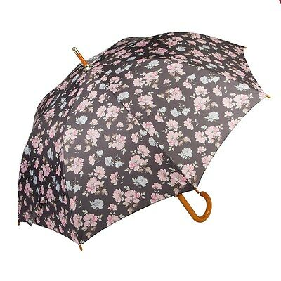 Pale Pink and Blue French Rose Print Handled Stick Umbrella by Sass and Belle