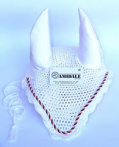 AMIDALE EAR NET CROCHET FLY VEIL EQUESTRIAN HORSE WITH CRYSTALS BLACK 3 SIZES