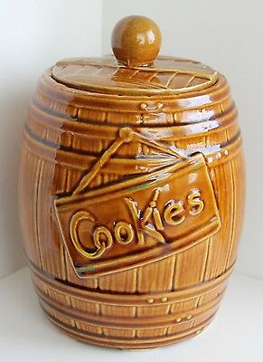 Vintage Oak Barrel Cookies Cookie Jar USA 1950s? McCoy? AS-IS
