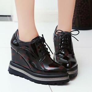 Womens-Shiny-lace-up-Pointed-Toe-Wedge-Heel-Ankle-Boots-Sneakers-Platform-Oxford
