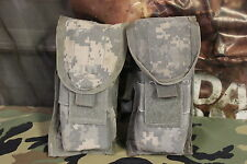 SET OF 2 ACU DIGITAL MOLLE II DOUBLE M FOUR MAG POUCHES USED SEE ALL PICS GOOD C