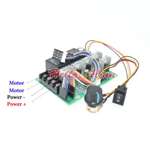 12V 24V 36V 48V 60A LED PWM DC Motor Speed Controller CW CCW Reversible Switch
