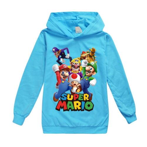 Super Mario Bros Boys Girls fashion spring and autumn casual hoodie T-shirt top
