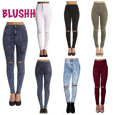WOMENS HIGH WAISTED RIPPED KNEE SKINNY JEANS LADIES JEGGINGS 6//8//10//12//14//16//18