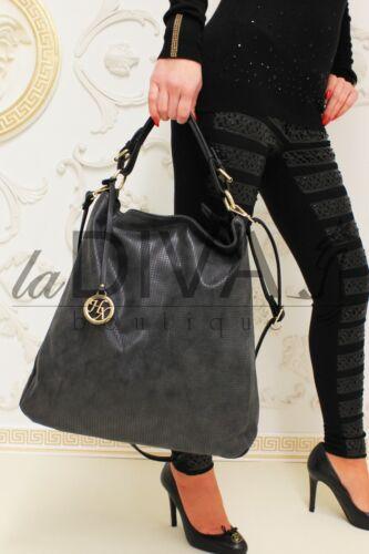 Shopper Tasche mit Deko Anhänger Vintage Used Leder Optik schwarz Beuteltasche