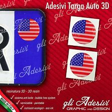 2 Adesivi Stickers bollino 3D Resinato targa Auto Moto USA flag