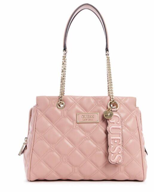 $118 GUESS Juliet Girlfriend Framed Satchel Bag Purse Quilted Signature Charm