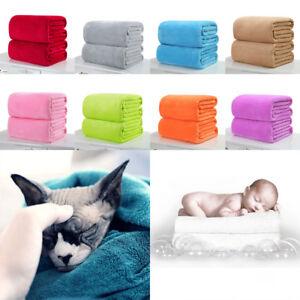 Soft Warm Solid Warm Micro Plush Fleece Blanket Throw Rug Sofa Bedding Home uk