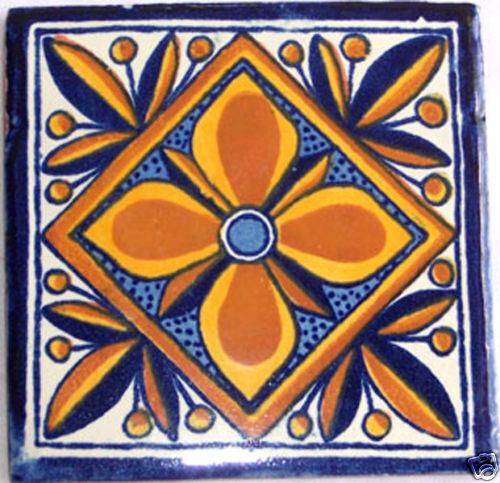 90 Ceramic Talavera Tiles Hand Made Mexican Tile A-116