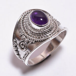 925-Sterling-Silver-Ring-Size-UK-P-Natural-Amethyst-Handcrafted-Jewelry-CR3371