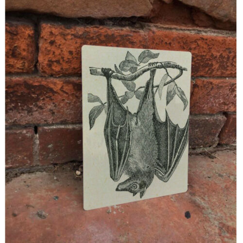 Hanging Bat VINTAGE ENAMEL METAL TIN SIGN WALL PLAQUE
