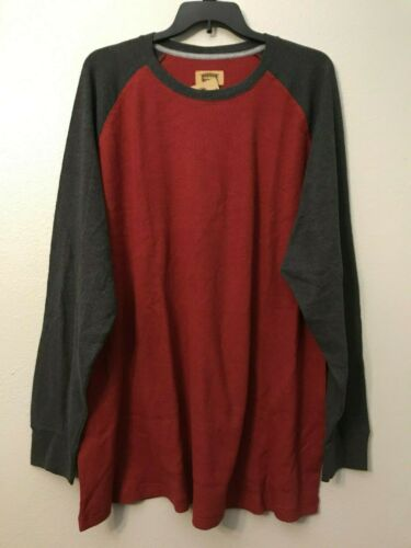 NWT Foundry Men/'s Big Tall Red Gray Two Tone Waffle Henley Shirt 3XLT  4XL 4XLT