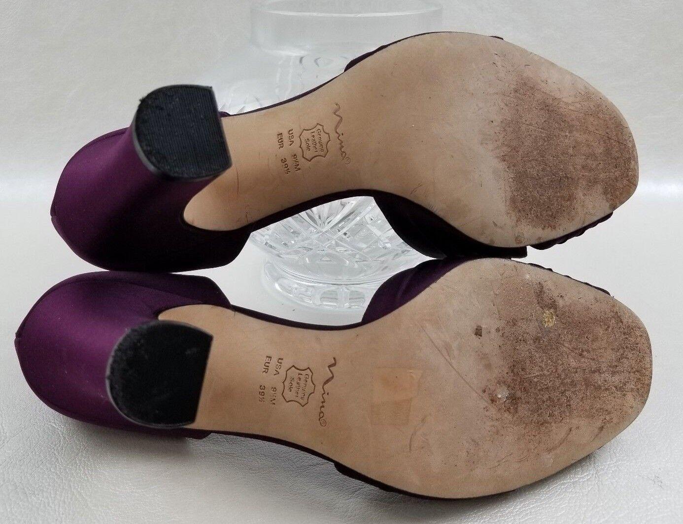 Nina Pumps Satin Satin Satin Formal Open Toe Block Heels Burgundy damen schuhe Größe 9.5M 96df9e