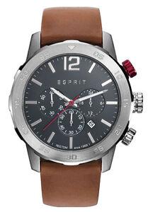 ESPRIT-tp10917-brown-ES109171004-Herrenuhr-Chronograph-Leder-braun-neu