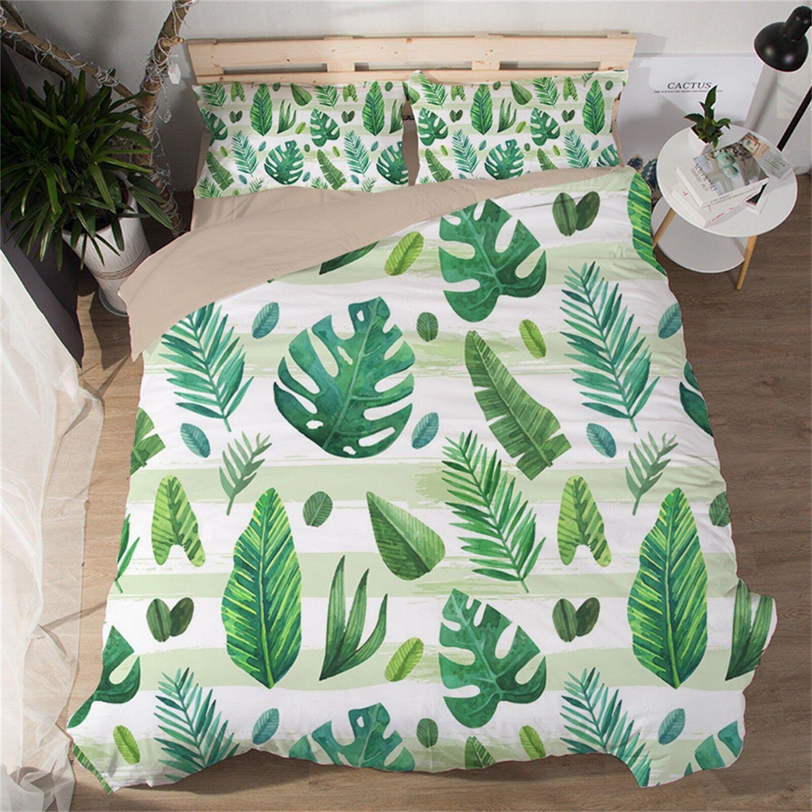 3D Tropical Leaf 42 Bed Pillowcases Quilt Duvet Cover Set Single Queen CA