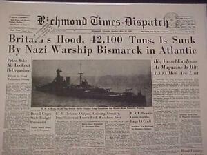 VINTAGE-NEWSPAPER-HEADLINE-WORLD-WAR-2-BISMARCK-BATTLESHIP-SINKS-HOOD-WWII-1941