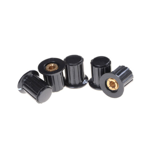 5Pcs Ribbed Grip 4mm Split Shaft Potentiometer Control Knobs Black Fad HGUK