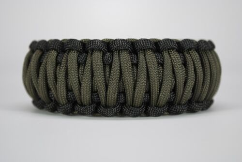 """550 Paracord Survival Bracelet KING COBRA Noir//diamètre extérieur vert /""""MADE IN THE USA/"""""""