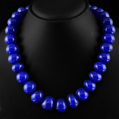 934.00 CTS EARTH MINED SINGLE STRAND RICH BLUE SAPPHIRE ROUND BEADS NECKLACE