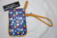 Purple Polka Dots Multi Colored Cell Phone Case Pouch Wristlet Strap Wallet