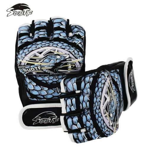 Blue Black Viper Fight MMA Boxing Sports Leather Gloves Tiger Muay Thai For Men