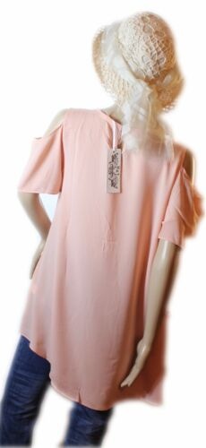 A-Linie Chiffon Seide Lagenlook Bluse Tunika Cut-Out-Shoulder NEU Gr.38 40 42